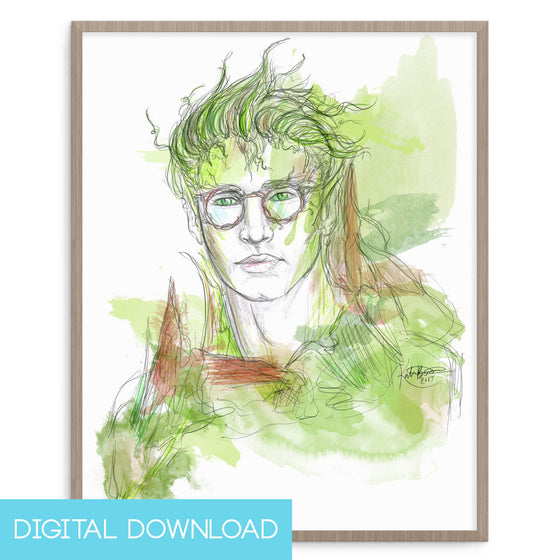 Bookish Dryad 8x10 Digital Download - The Watercolorie