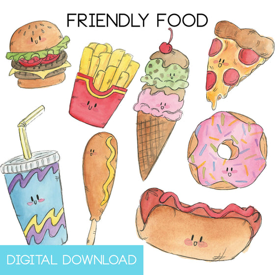 Friendly Food Sticker Page Digital Download