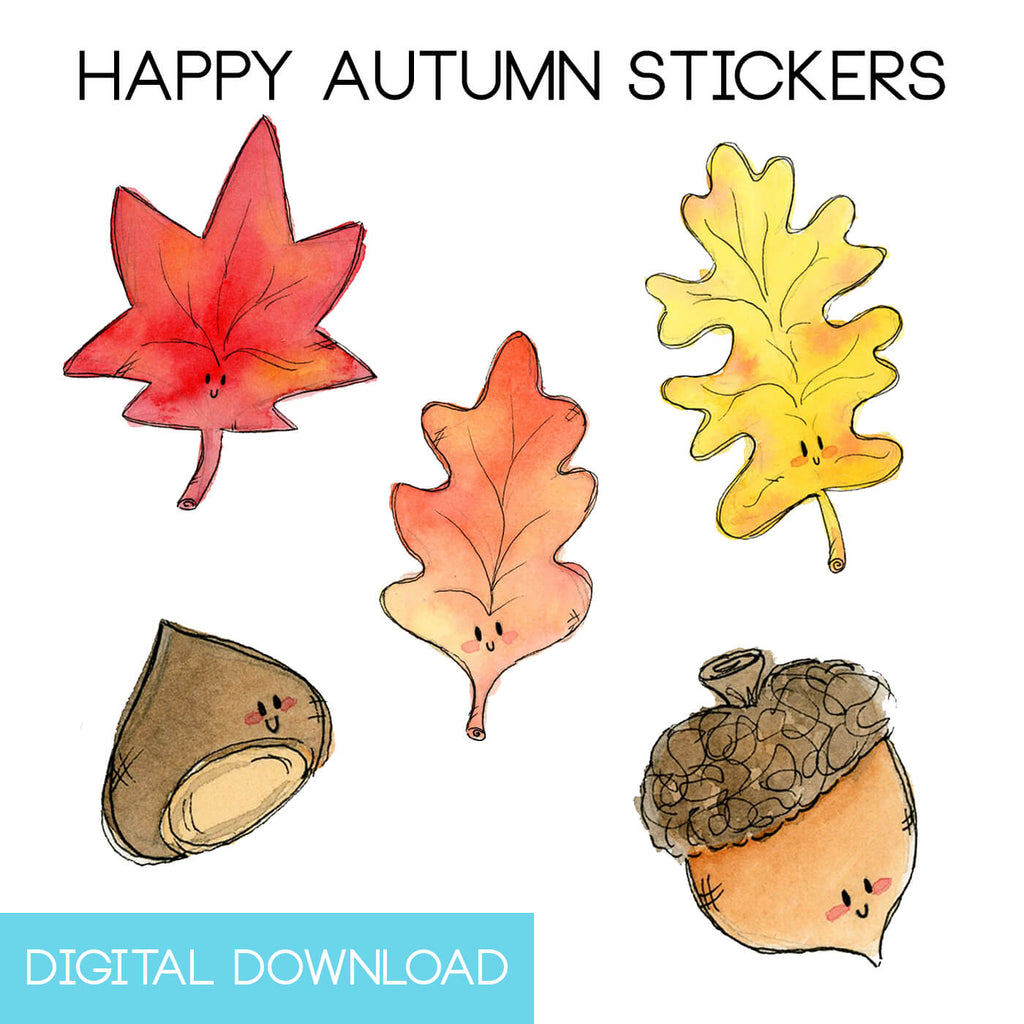 Happy Fall Sticker Page Digital Download