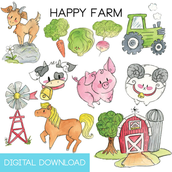Happy Farm Sticker Page Digital Download