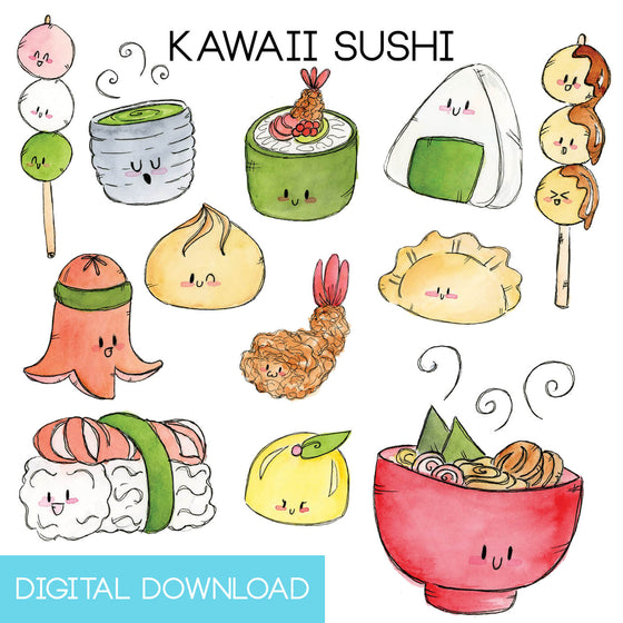 Kawaii Sushi Sticker Page Digital Download