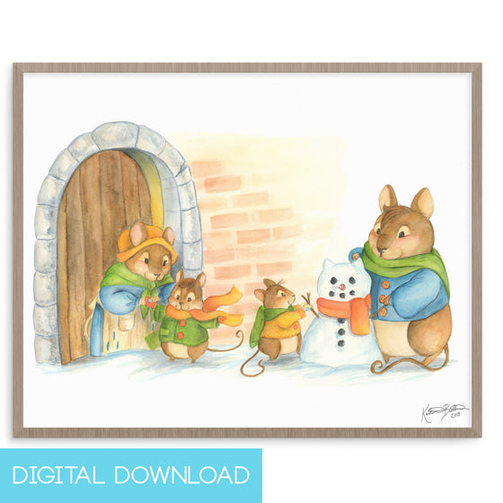 Mouse Family Snow Day 8x10 Digital Download