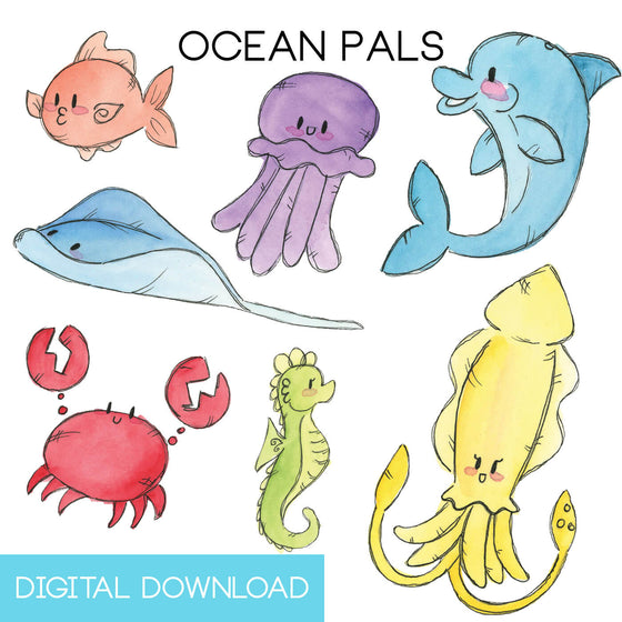 Ocean Pals Sticker Page Digital Download