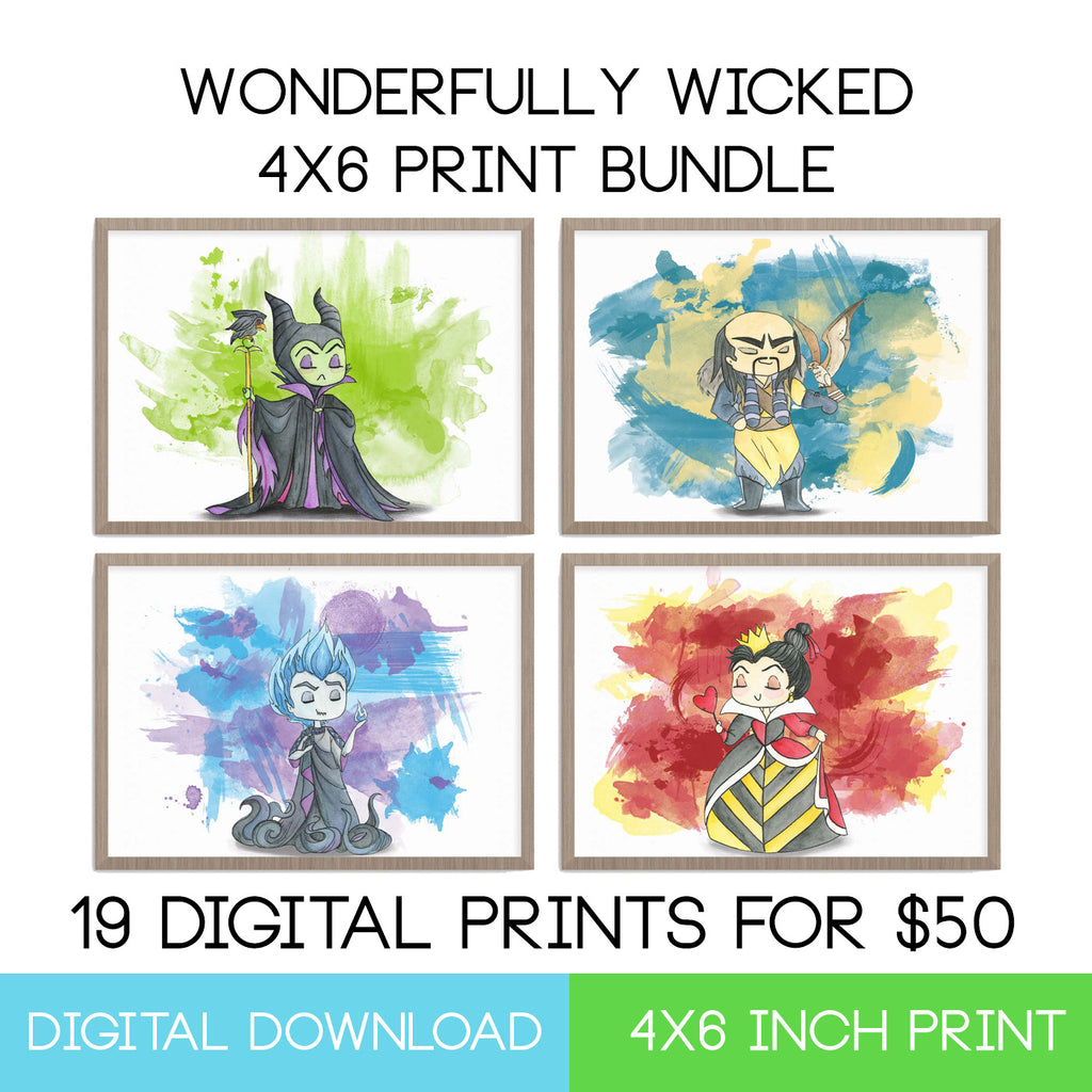 Disney Villains 4x6 Digital Download Bundle - LIMITED EDITION - The Watercolorie