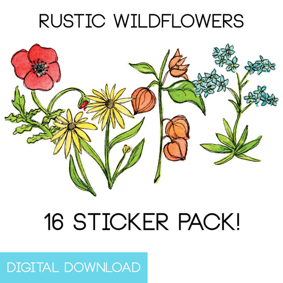 Rustic Wildflowers Sticker Page Digital Download