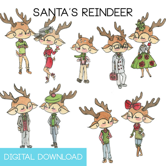Santa's Reindeer Sticker Page Digital Download