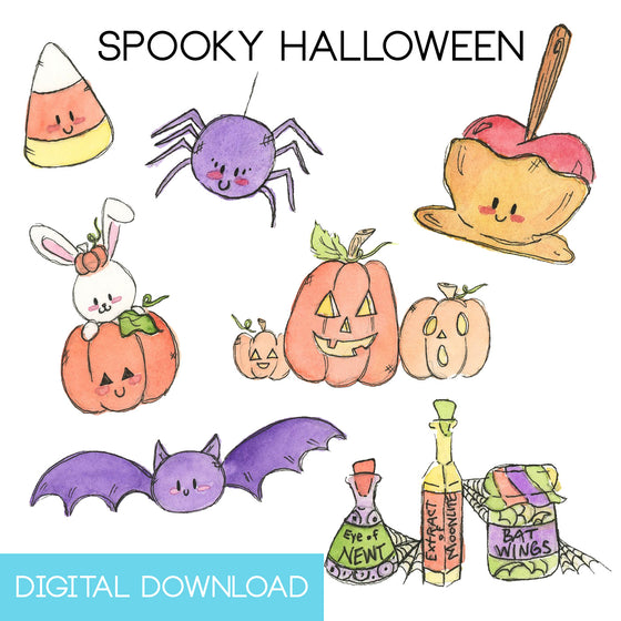 Spooky Halloween Sticker Page Digital Download