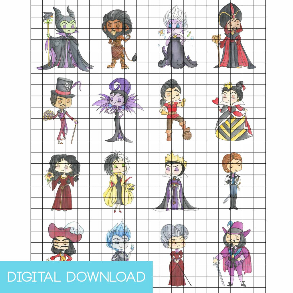 Disney Villains 18 Sticker Set Digital Download - LIMITED EDITION - The Watercolorie