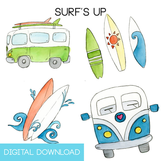 Surf's Up Sticker Page Digital Download