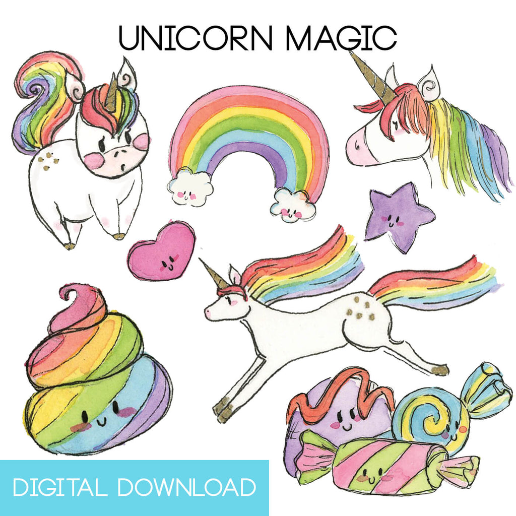Unicorn Magic Sticker Page Digital Download