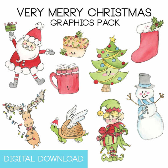 very merry christmas graphics pack digital download