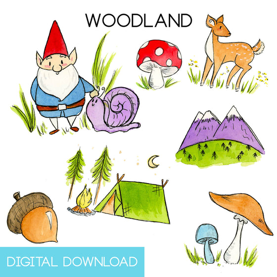 Woodland Sticker Page Digital Download