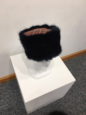Faux Fur Burnett Tartan Pillbox Hats