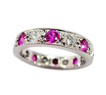 5 Bead Pavé Diamond and Pink Sapphire Band