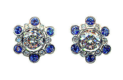 Diamond and Sapphire Cluster Earrings