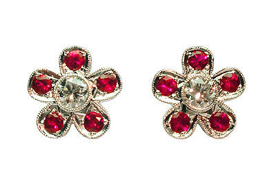 Five Ruby and Diamond Pavé Stud Earrings