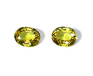 2.20 ct Fancy Lemon Yellow Sapphire Oval Pair