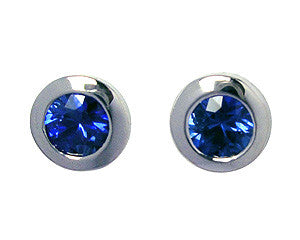 Sapphire Tapered Bezel Stud Earrings