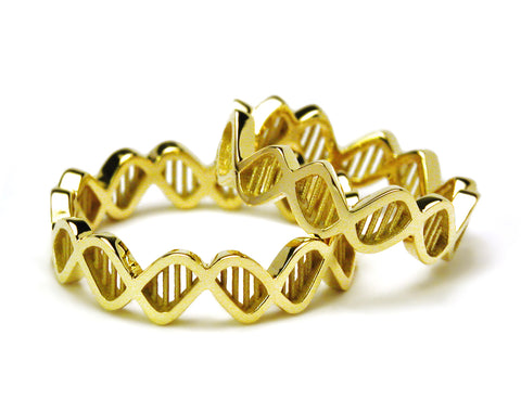 Sculptural Double Helix DNA Ring
