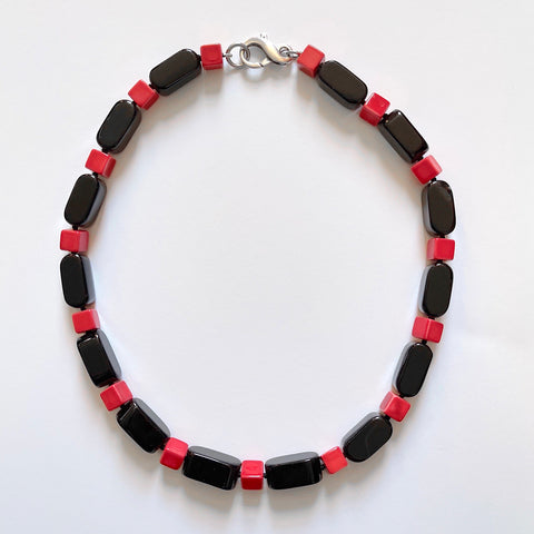 Black and Red Necklace with Vintage Beads