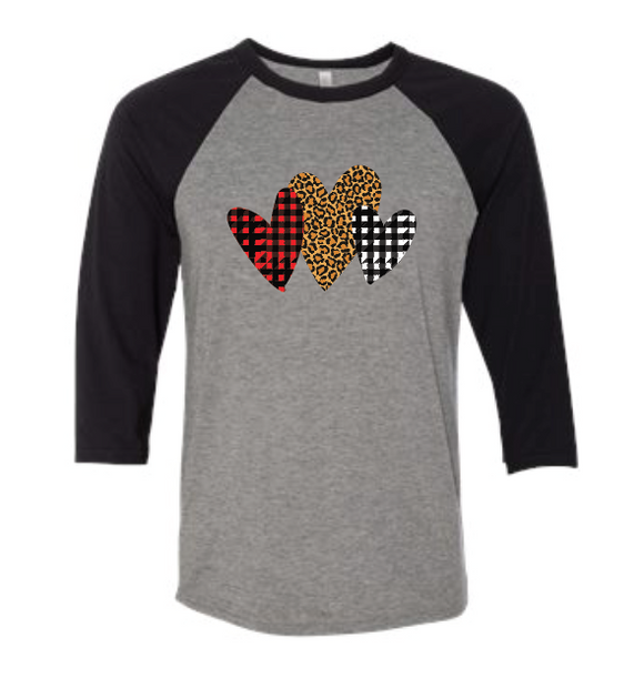 Plaid Hearts 1 - Baseball Sleeve