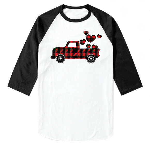 Plaid Heart Truck 1 - Baseball Sleeve