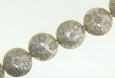 BB016 Hill Tribe Silver. Fine Silver. Traditional tribe design with flower stamp. Puffy beads.
