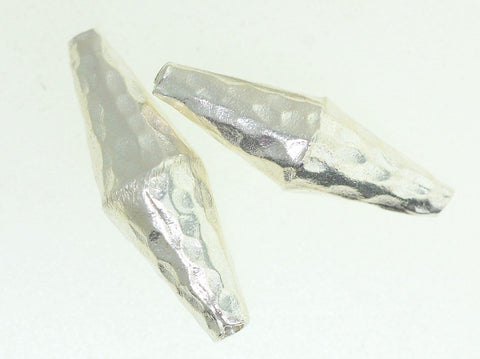 BB020 Hill Tribe Silver. Hammered pointy long beads. Fine Silver.