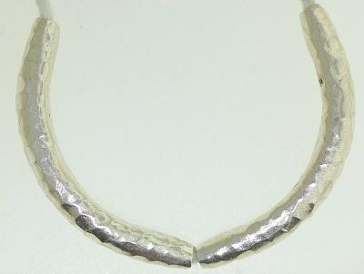 BB0022 Hill Tribe Silver Tube. Hammered pointy tube. Fine silver.