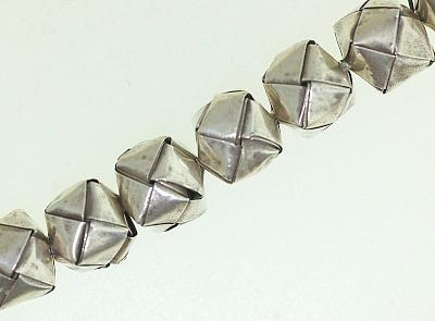 BB024 Hill Tribe Silver woven beads. Fine Silver.