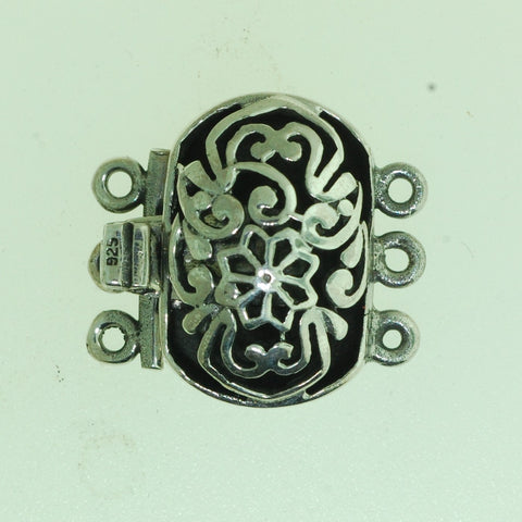 Boxs019- Sterling Silver Oval Flower Box Clasp 3 strands