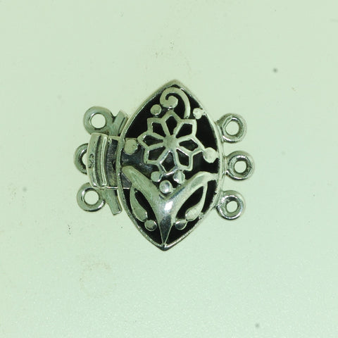 Boxs020- Sterling Silver  Oval Flower Box Clasp 3 strands