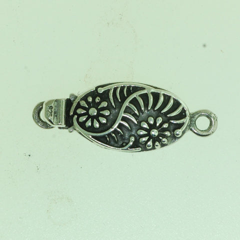 Boxs021- Sterling Silver  Oval  Daisy Flower Box Clasp