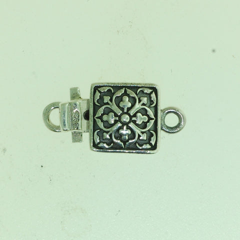 Boxs022- Sterling Silver  Square Flower Box Clasp