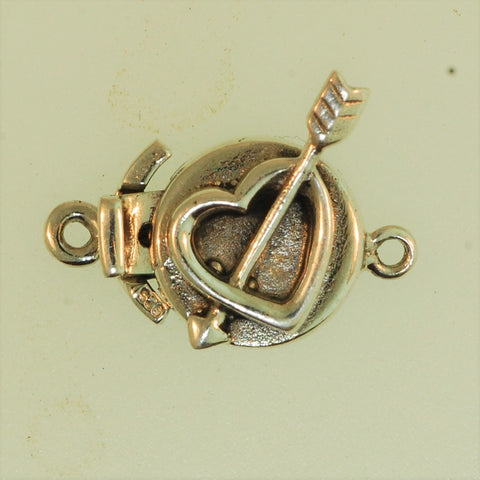 Boxs7 - Sterling Silver Heart-Arrow Box Clasp