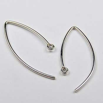 EW3- Sterling silver V shape ear wire. Earring Wires. Good quality handmade ear wire.Price per 5 pairs.