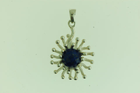 PS010- Sterling Silver Sun Burst Pendant with Lapis