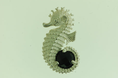 PS011- Sterling Silver Sea Horse Pendant with Black Onyx