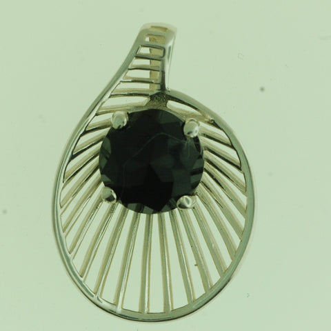 PS07- Sterling Silver Flower  Pendant with Black Onyx