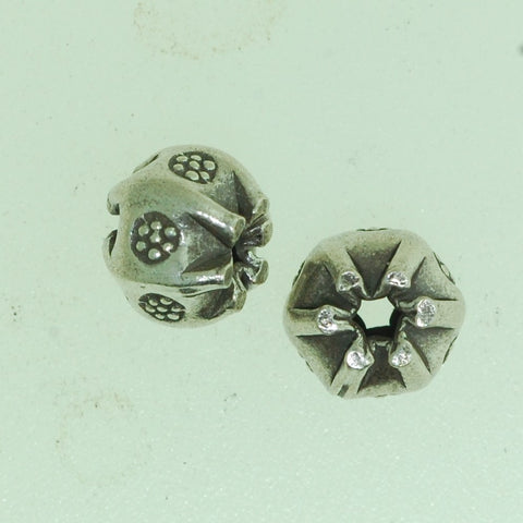 SB007 - Hill Tribe Silver Flower Bead