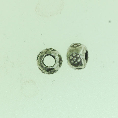 SB009 - Hill Tribe Silver Big Hole Flower Bead