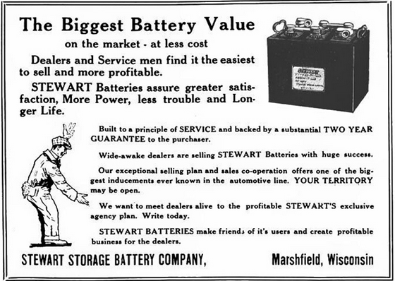 The Stewart Battery Company also offered The Battery Eliminator, which allowed battery operated home radios to run on household current, the forerunner to today's wall-wart AC adapters. Which was also probably the likely cause of the Stewart Battery Company's bankruptcy as well.