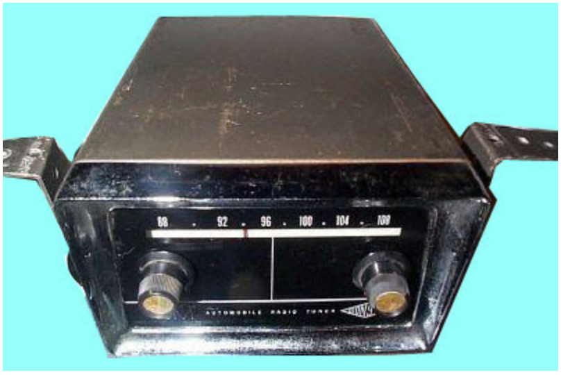 The Gonset 3311 FM Automobile Radio Tuner was the first FM car radio converter. These converters mounted under the dash and used a tiny built-in AM transmitter tunable on a couple of pre-set frequencies to rebroadcast the FM signal to the car's AM radio. FM radio converters like this were available until the early 1980s. Image: Somerset