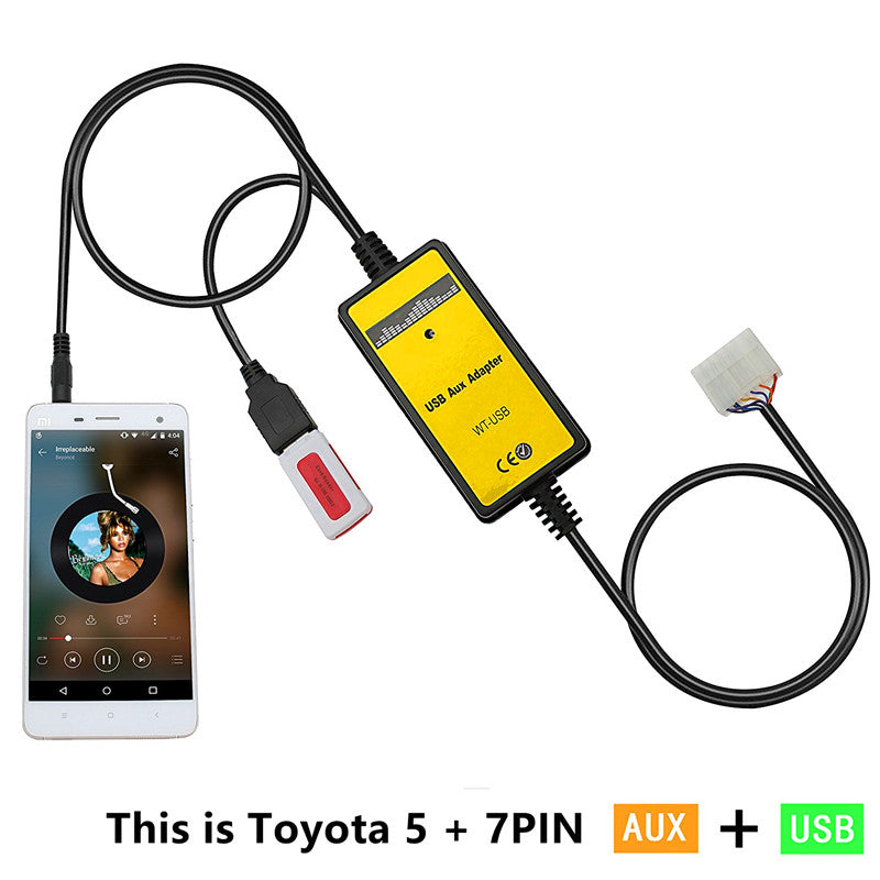 Toyota Lexus 12 Pin USB AUX MP3 Input Adapter - Factory Radio Parts