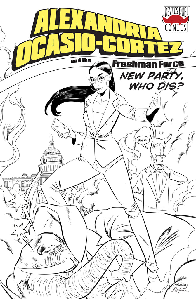 Alexandria Ocasio-Cortez and the Freshman Force: Line Art Cover Variant