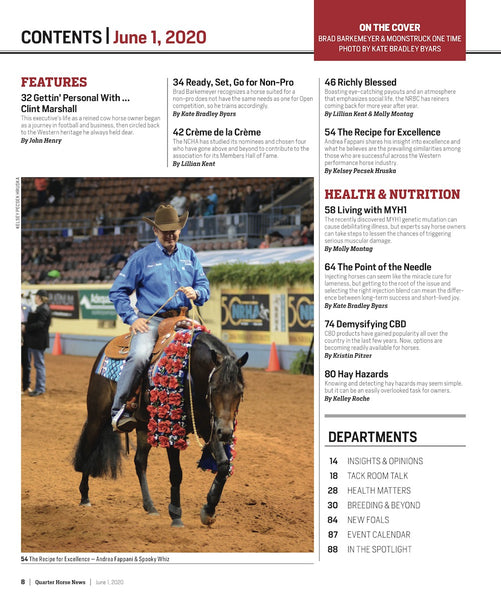 June 1, 2020, Issue of Quarter Horse News Magazine