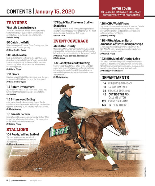 January 15, 2020, Issue of Quarter Horse News Magazine
