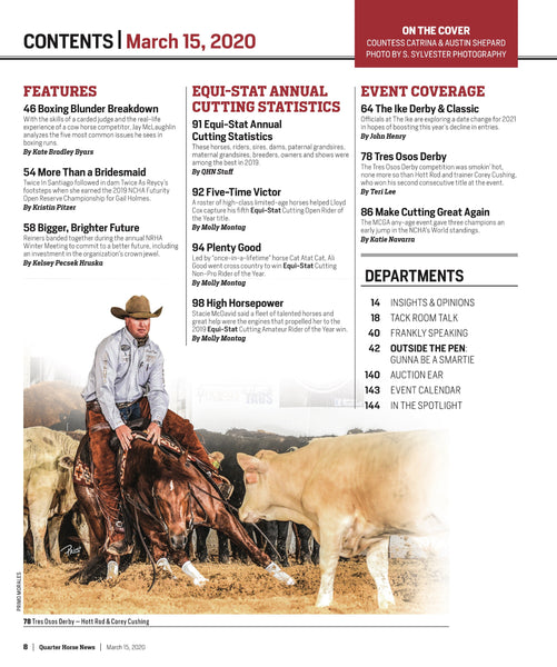 March 15, 2020, Issue of Quarter Horse News Magazine
