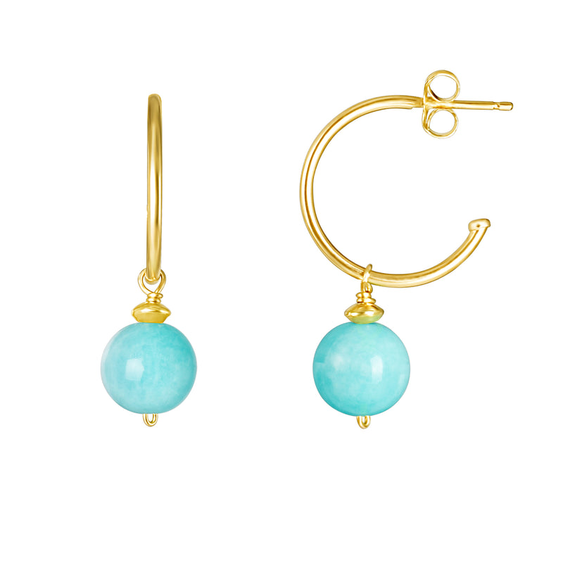 14KY AMAZONITE DANGLE LEVERBACK EARRING