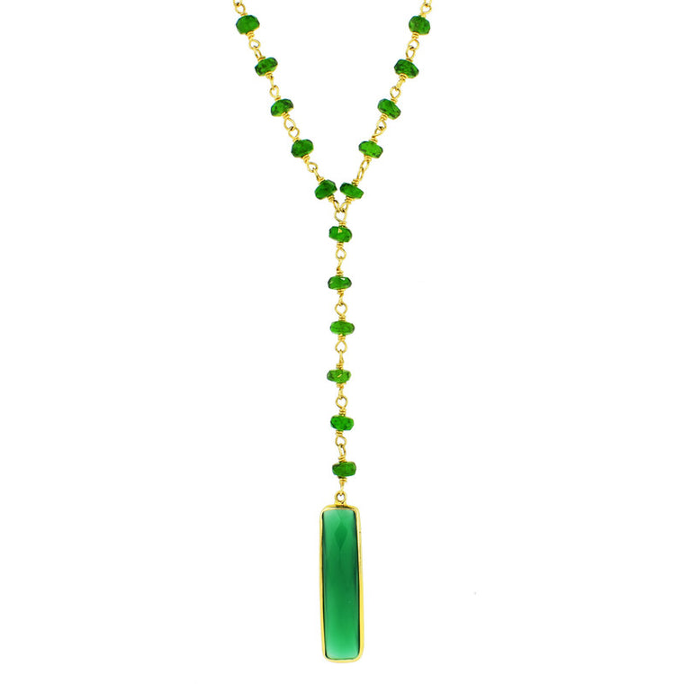 14KY CHROME DIOPSIDE GREEN ONYX Y NECKLACE 17